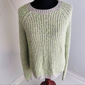 Abercrombie & Fitch lime/gray crew neck sweater L
